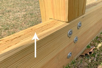 wood caulk, not stained, on a playground