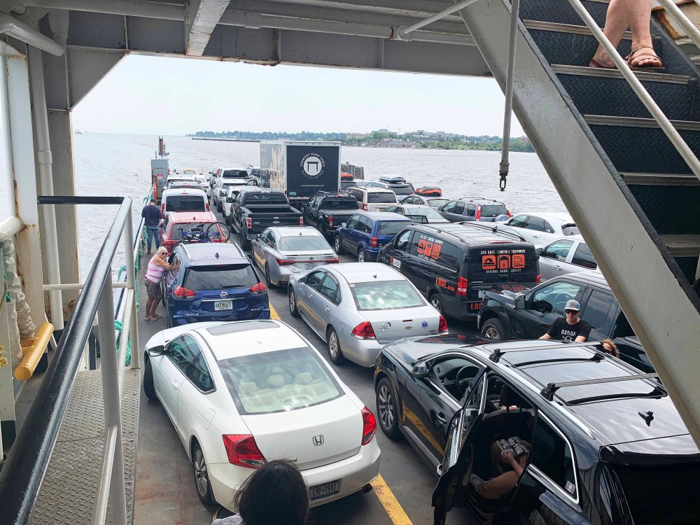 Cars on a ferry boat