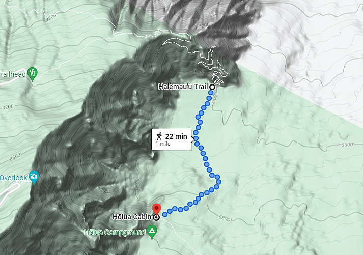topography and elevation map of the Halemau'u Trail to the Holua Cabin and Holua Campground