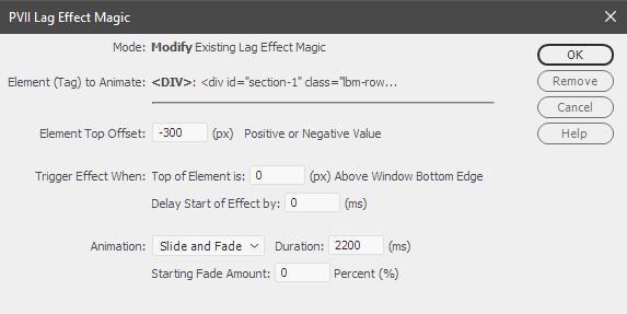 Lag Effect Magic for Dreamweaver