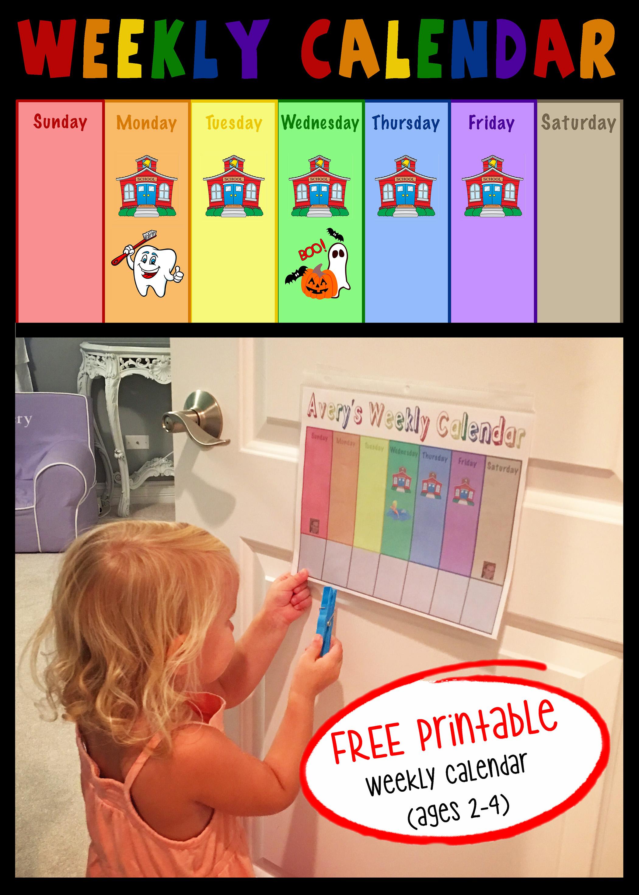 Toddler Weekly Calendar