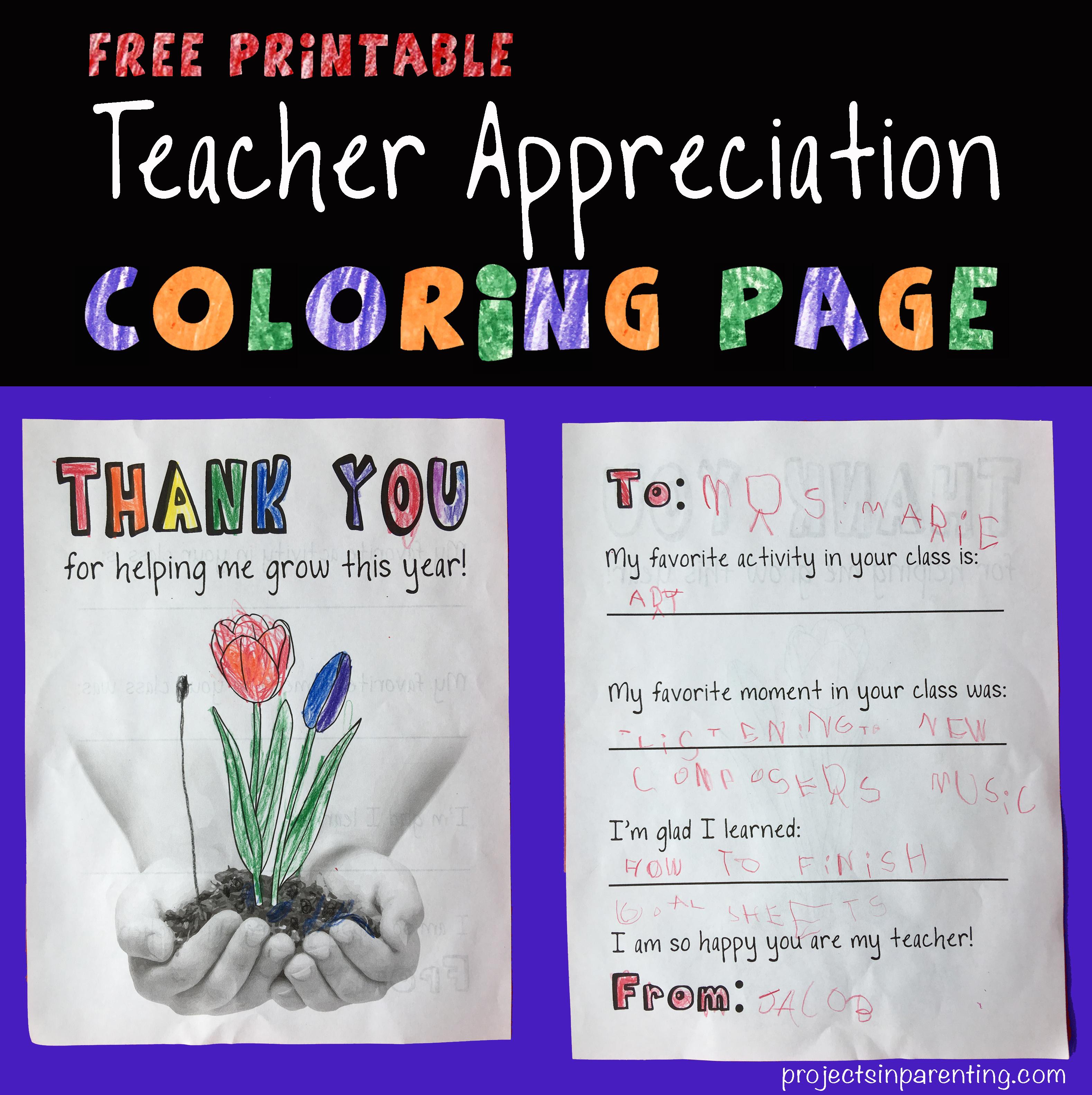 Teacher Appreciation Coloring Page
