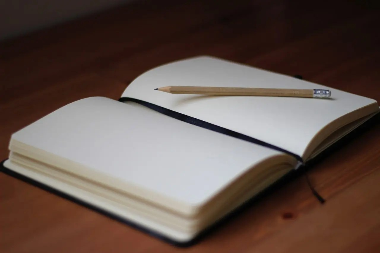 A notebook, open to a blank page