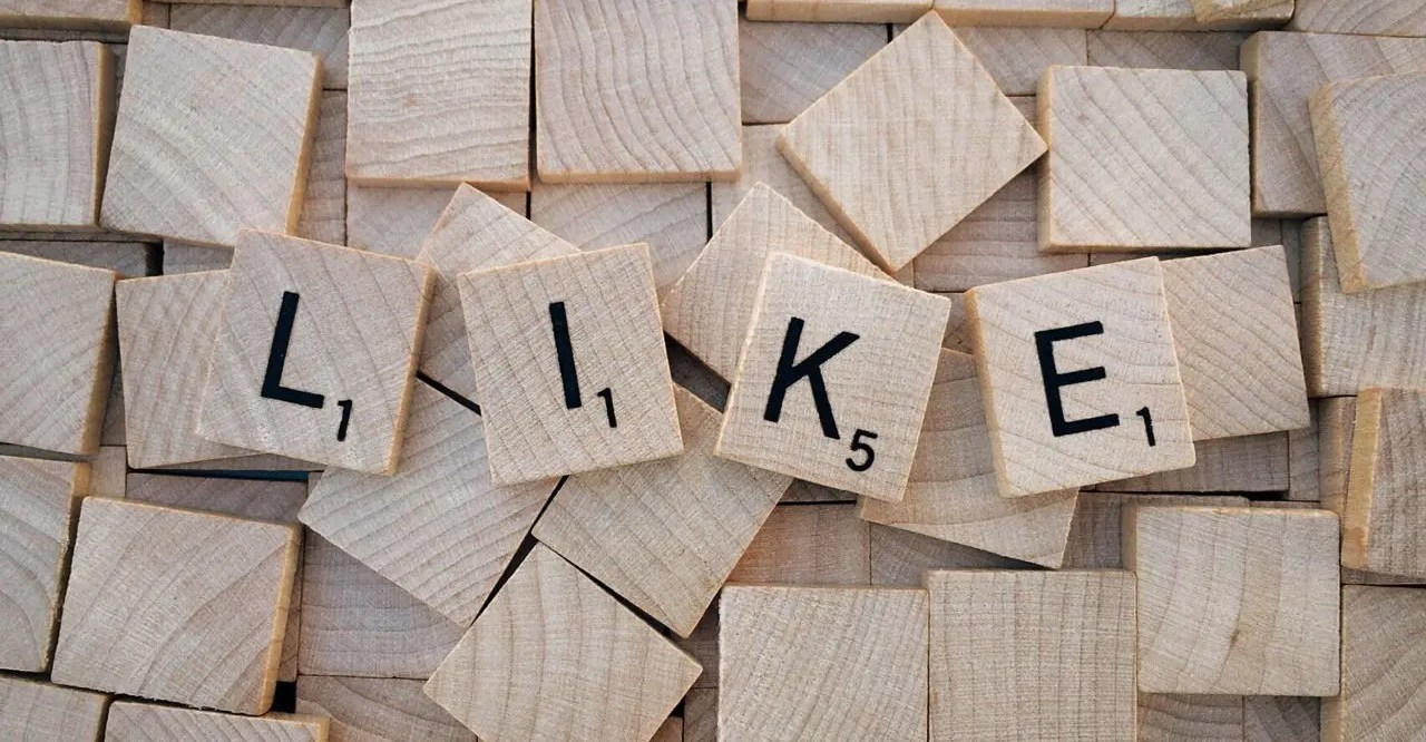 "Scrabble tiles spell the word ""LIKE"""