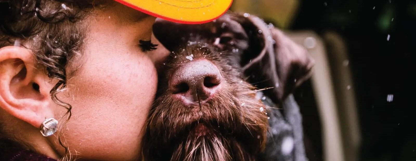 A bird hunter kisses their bird dog.