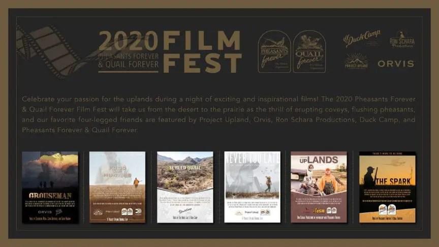 The flyer for the Pheasants Forever film festival.