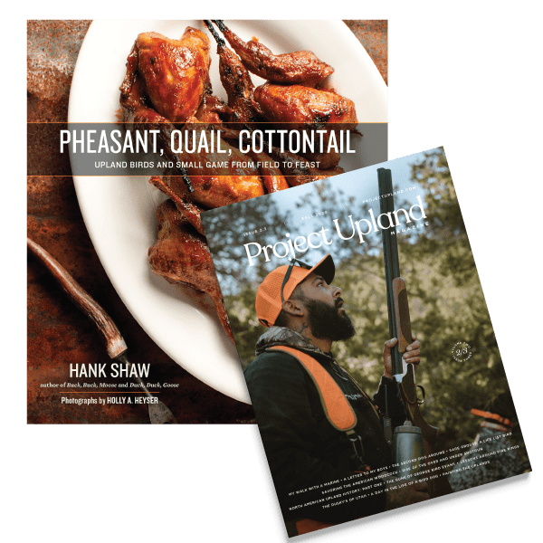 Pheasant, quail, cottontail and a Project Upland Magazine cover