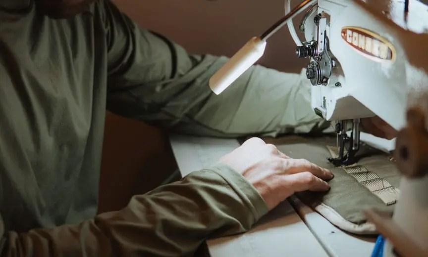 A Hunt Redi strap vest being stitched together.