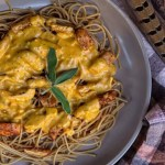 Pumpkin sage pheasant pasta on a themed plate