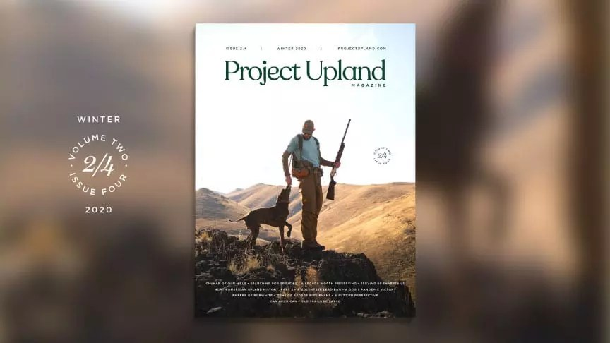 The Winter 2020 cover of Project Upland Magazine featuring Alec Garcia of Chukar Chasers.