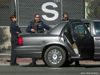 LAPD and LA Metro Police providing top notch security at the Academy Awards, Hollywood, California, 2013.