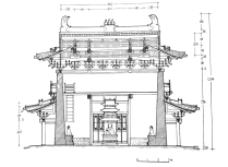 North-south sectional view of the Thousand Buddha Pavilion (Photo by Di Luo)