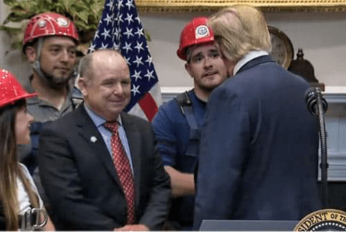 Wesley College ES graduate, NSF S-STEM Cannon Scholar, and NSF EPSCoR intern, John Dougherty has a chat with President Trump