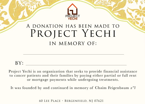 Donation Cards Project Yechi
