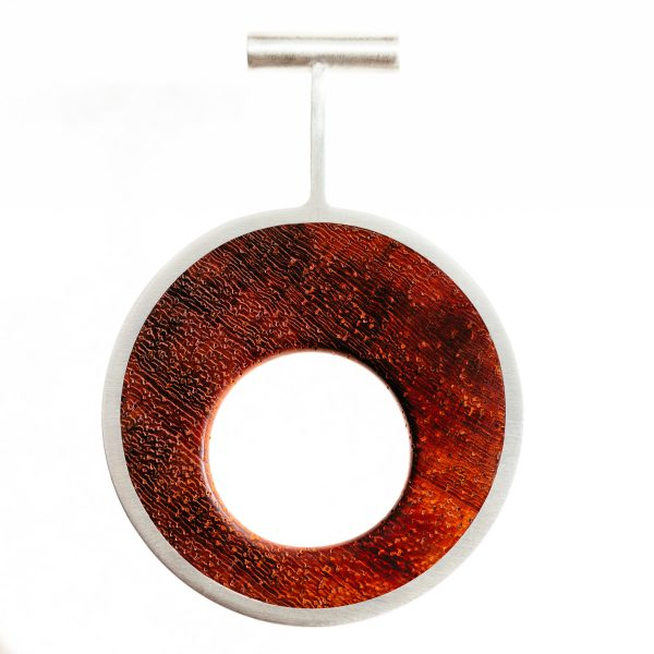 Men's pendant with silver and wood