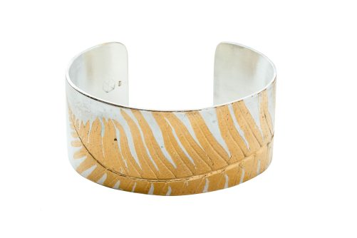 Polished sterling and 24k gold wide cuff
