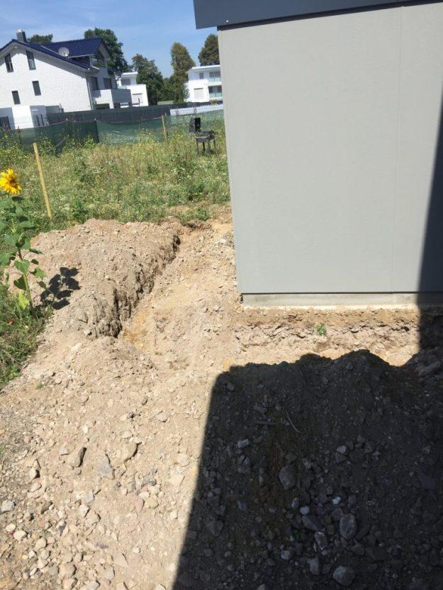 Graben für Entwässerung