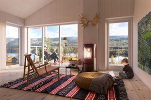 Interiörbild övervåning, Ekobyn Ladriket Projekt Kaxås