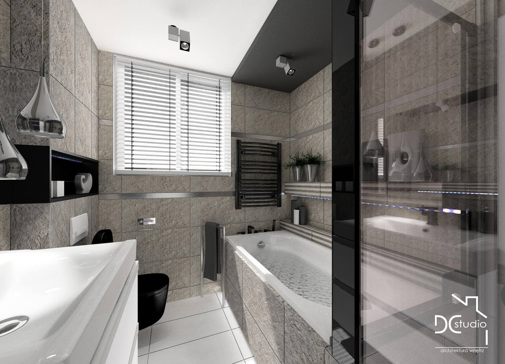 Bathroom in a detached house in shades of beige and black