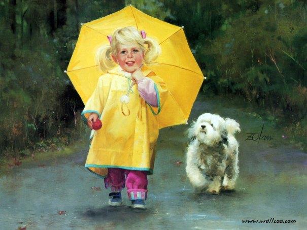 painting_children_kjb_DonaldZolan_78RainyDayPals_sm