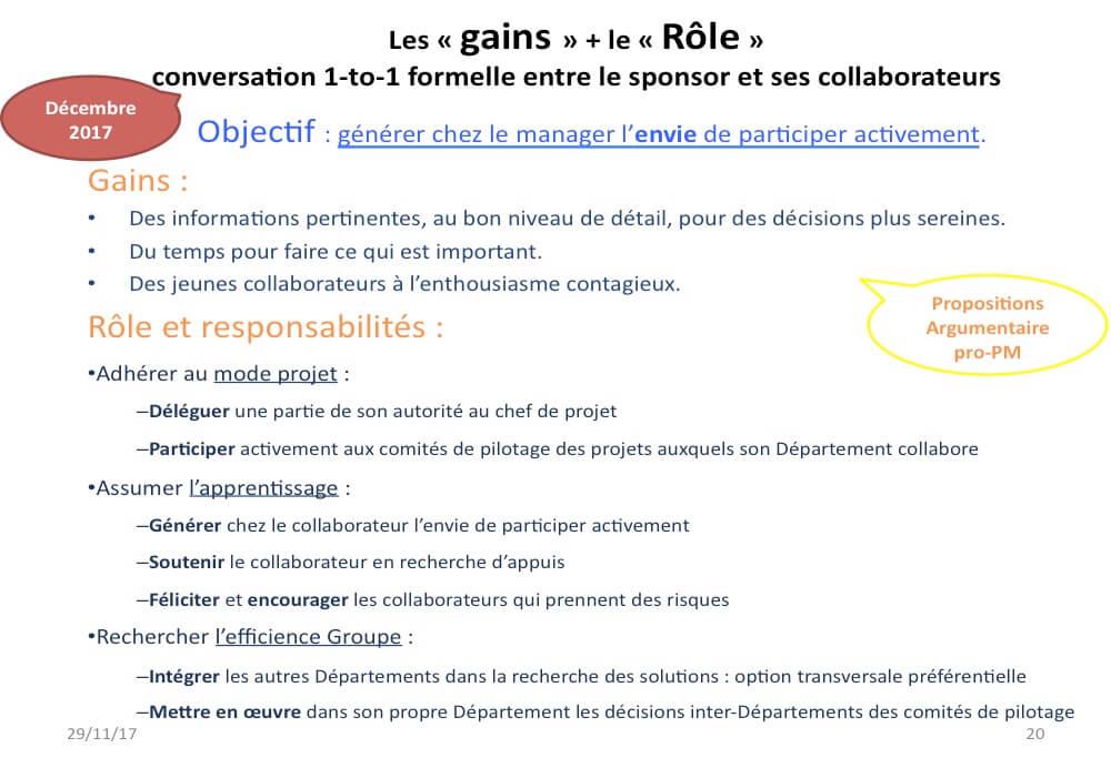 Exemple de diapositive pour guider le sponsor dans ses conversations avec ses collaborateurs directs.