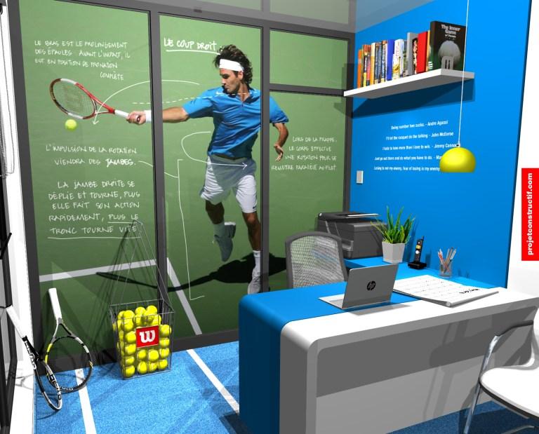 Design intérieur Bureaux Modélisation aménagement administration bureaux encadrement sports-études. Sports-study's mentoring administration office design 3D drawing.