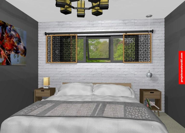 Aménagement chambre adultes 3D. Adult's bedroom 3D rendering