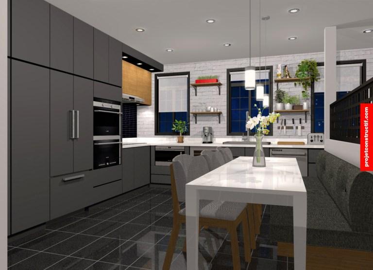 Design intérieur cuisine perspective 3D. 3D perspective of kitchen interior design