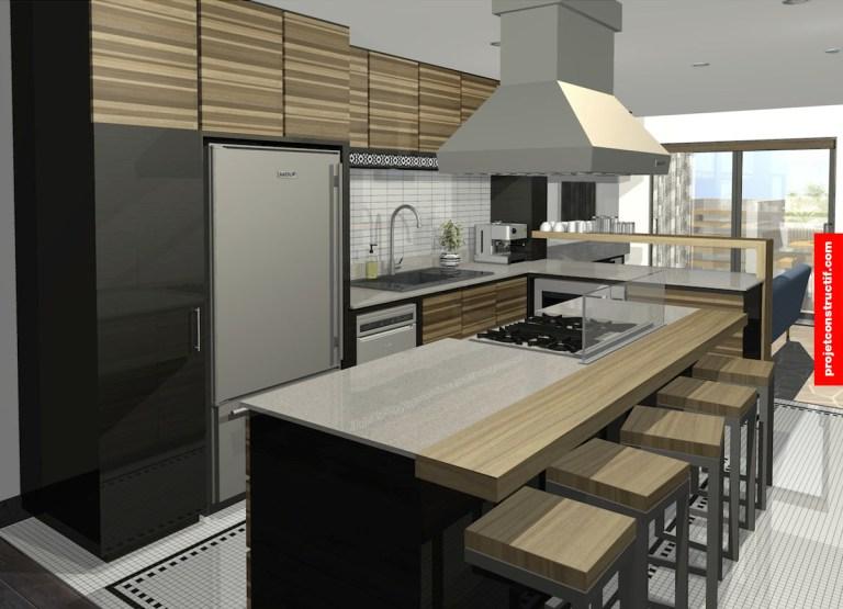 Rénovation sous-sol Aménagement intérieur cuisine présentation 3D Interior design kitchen 3D rendering.