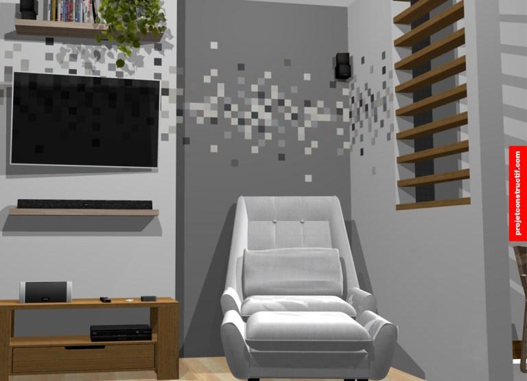 Modélisation 3D petit salon avec découpe de vinyle. 3D rendering showing