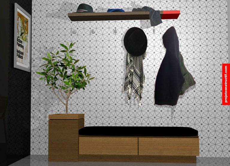 Design banc en bois avec rangement et arbre intérieur • Wooden bench design with storage and interior tree