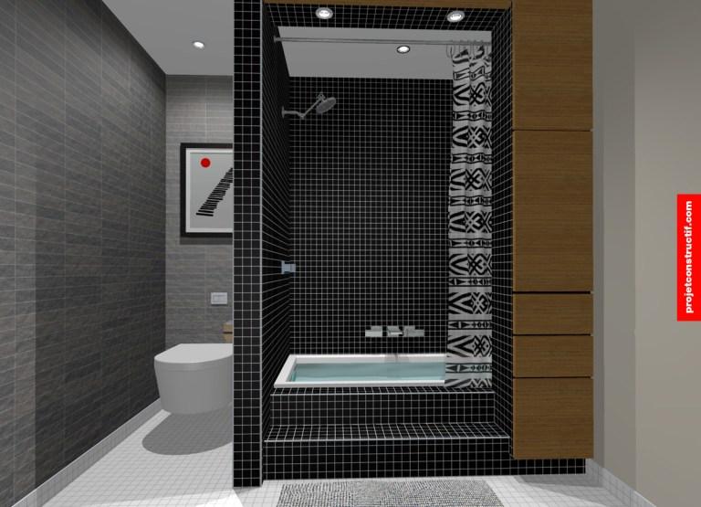 Illustration design intérieur salle de bain. Interior design 3D illustration washroom