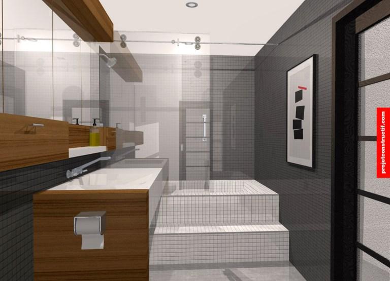 Aménagement intérieur salle de bain 3D. 3D interior design bathroom.