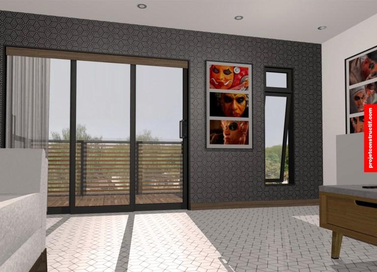 Salon mezzanine plein jour avec fenêtres et portes coulissantes. Mezzanine living room with windows and sliding doors - daylight.