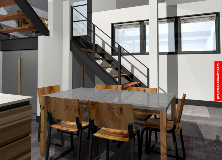 Rénovation sous-sol Rendu 3D salle à manger • 3D rendering dining room