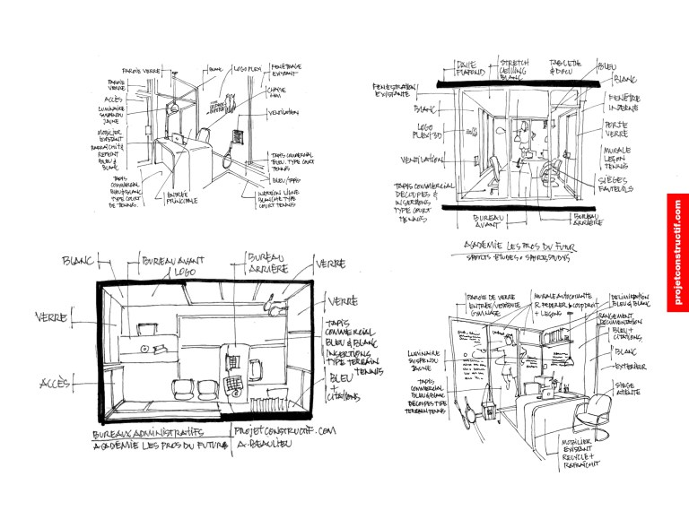 Propositions à main levée design bureaux. Hand drawings office design draft.