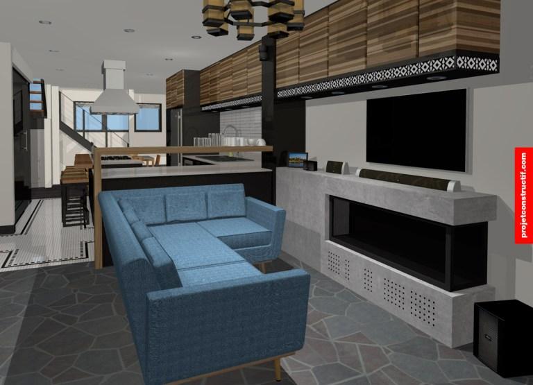 Rénovation sous-sol 3D design of living-room • Design 3D salon