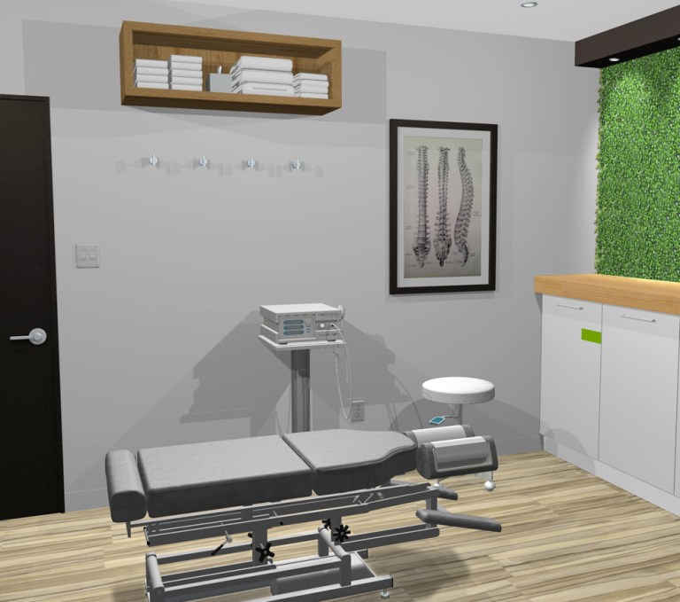 Aménagement intérieur Design intérieur salle chiropraxie angle 2. Interior design chiropractic room angle 2.