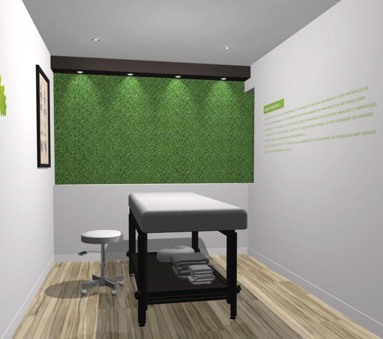 Aménagement intérieur Illustration design intérieur salle de massage. Interior design of massage room 2 drawn in 3D.