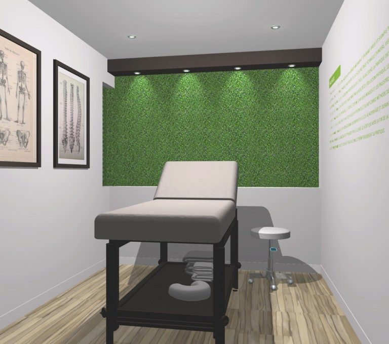 Aménagement intérieur Image 3D d'une salle de massothérapie. 3D illustration of massage room.