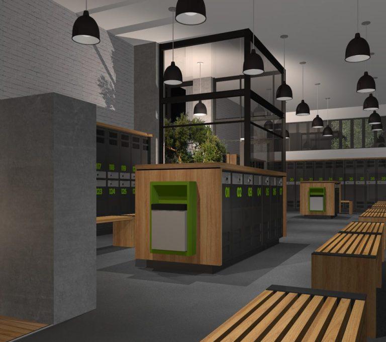 Aménagement intérieur Perspective 3D modélisée, vestiaire hommes. 3D perspective drawing showing backspace of men's changing room