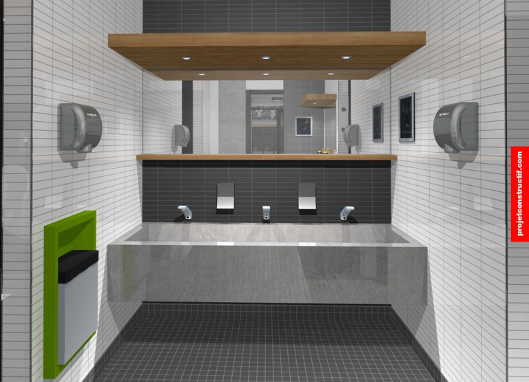 Aménagement intérieur dessiné de l'espace sanitaire comportant le lavabo. Sink location and sanitary layout illustrated in 3D.