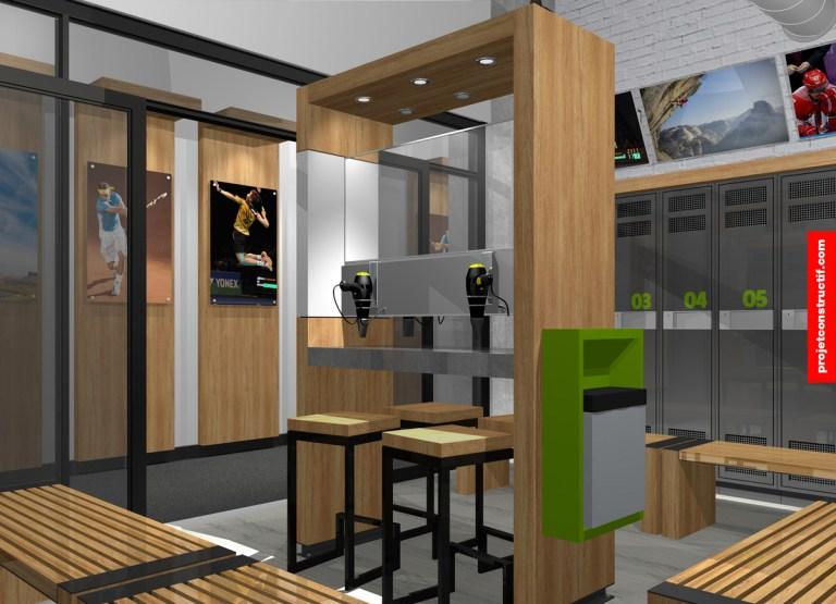 Aménagement intérieur Design intérieur section soins personnels vestiaire privé. Interior design of private changing room for premium membership detainers.