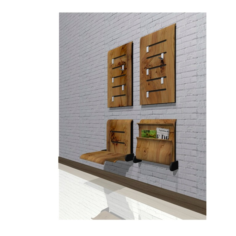 sieges_entree_retractables_3D_folding_wall_mounted_seatings