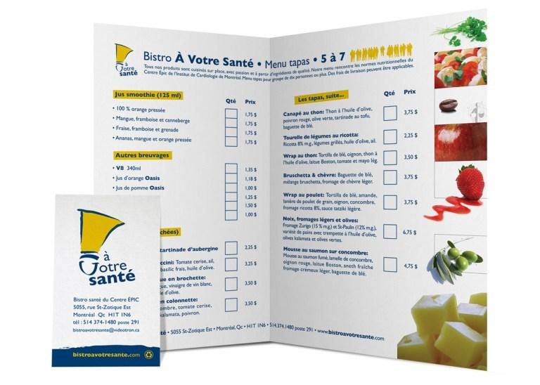 Design graphique. Image démontrant la carte d'affaire, le logo et un feuillet de commande pour un bistro santé. Image showing restaurant business card et ordering booklet.