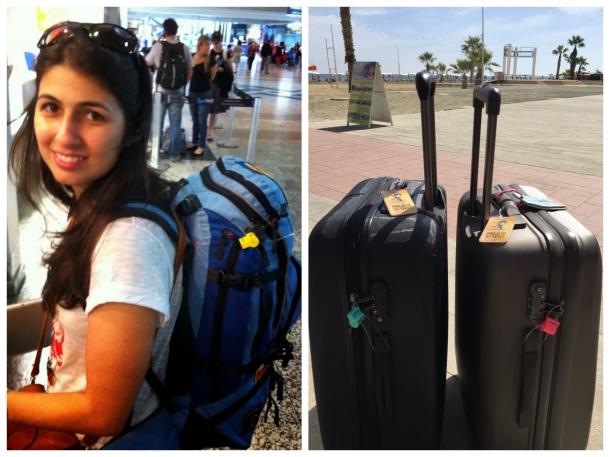 Embarcando para Roma de mochila e as nossas malas lacradas no Chipre