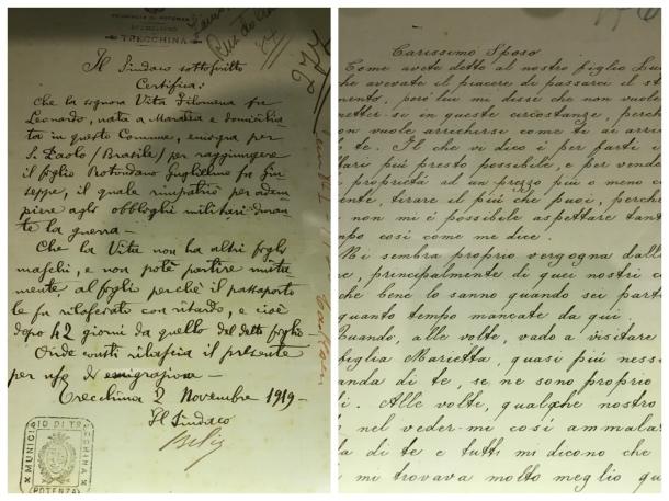 Cartas do museu da imigração de São Paulo