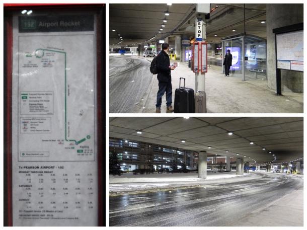 Ponto de ônibus no aeroporto de Toronto