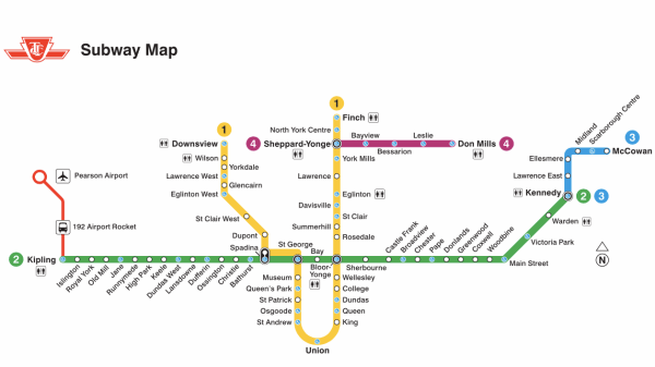 Mapa do metrô de Toronto