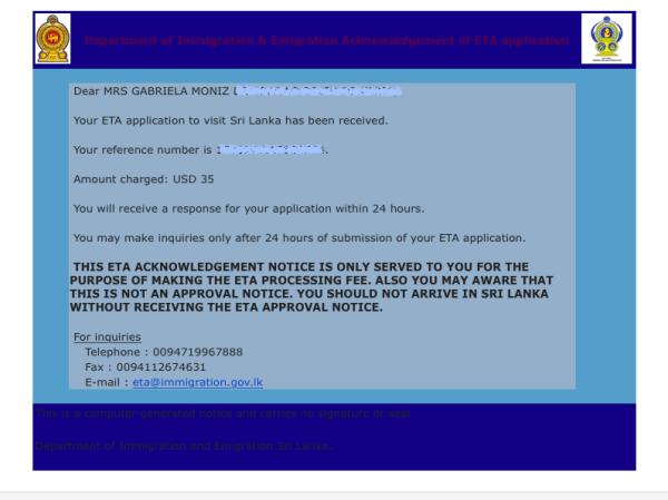 Confirmação de solicitação de ETA Sri Lanka